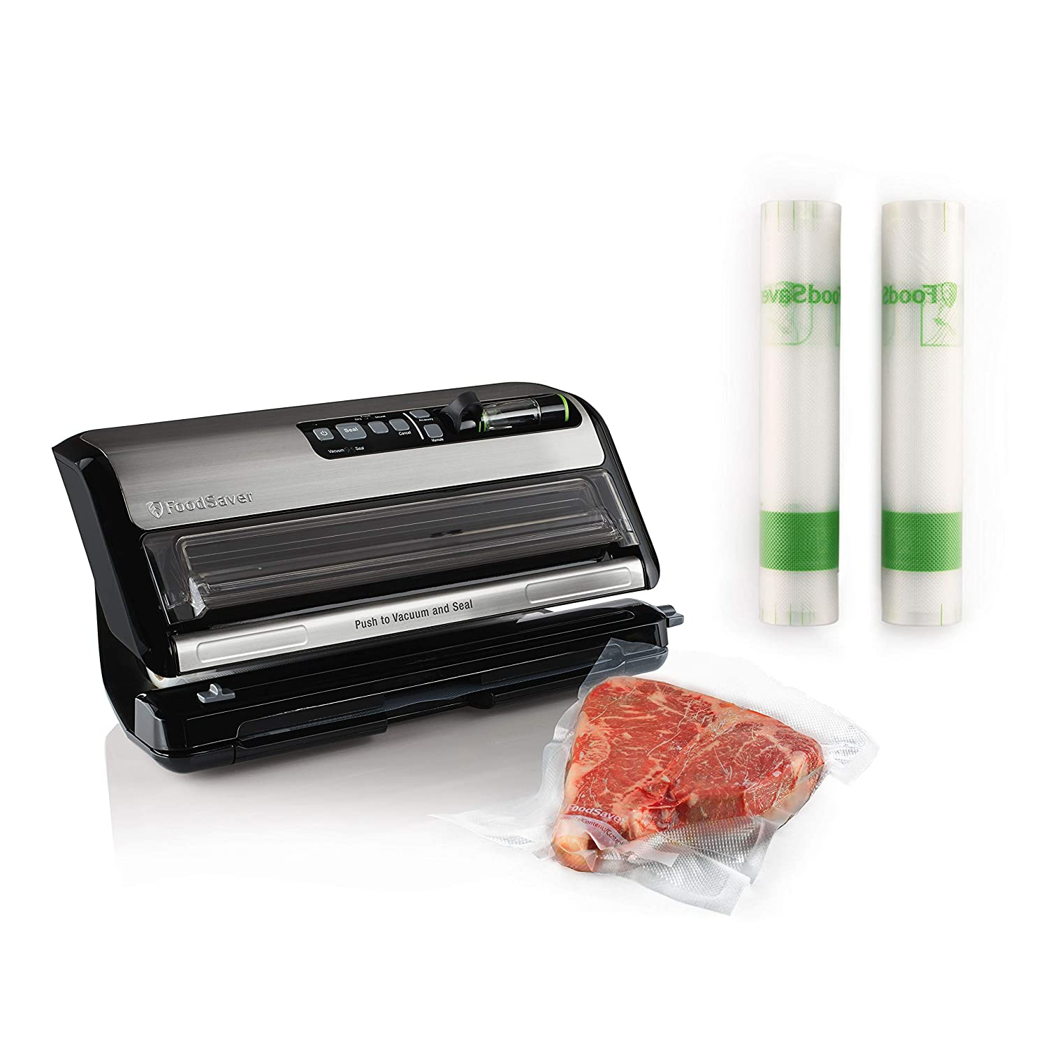 "FoodSaver FM24350ECR Vacuum Sealer System with Handheld Sealer and Starter Kit & FoodSaver 11"" x 14' Easy Seal & Peel Vacuum Seal Rolls, 2 Pack"