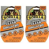 """Gorilla Crystal Clear Duct Tape, 1,9""""x 9 yd, Helder, (Pack van 2)"""