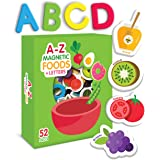 Curious Columbus Magnetic Foods and Letters for Kids. Set of 52 pcs Includes 26 Foam Picture Magnets and 26 A-Z Alphabet Lett