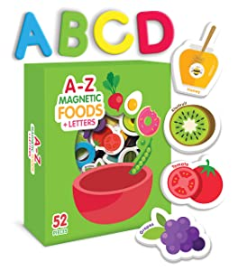 Curious Columbus Magnetic Foods and Letters for Kids. Set of 52 pcs Includes 26 Foam Picture Magnets and 26 A-Z Alphabet Letters