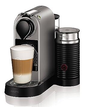 Krups Nespresso CitiZ und Milk XN760B Kaffeekapselmaschine (mit Aeroccino, Thermoblock-Heizsystem, 1 Liter Wasserbehälter, 19