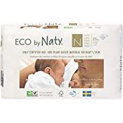 Eco by Naty Premium Disposable Baby Diapers for Sensitive Skin, Size Newborn, 4 Packs of 25 (100 Diapers) (Chemical, dioxin, Fragrance Free)