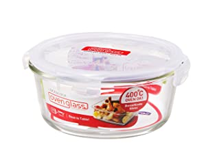 Lock & Lock Ovenglass Airtight Heat Resistant Glass Round Food Storage Container (4.02-Cup)