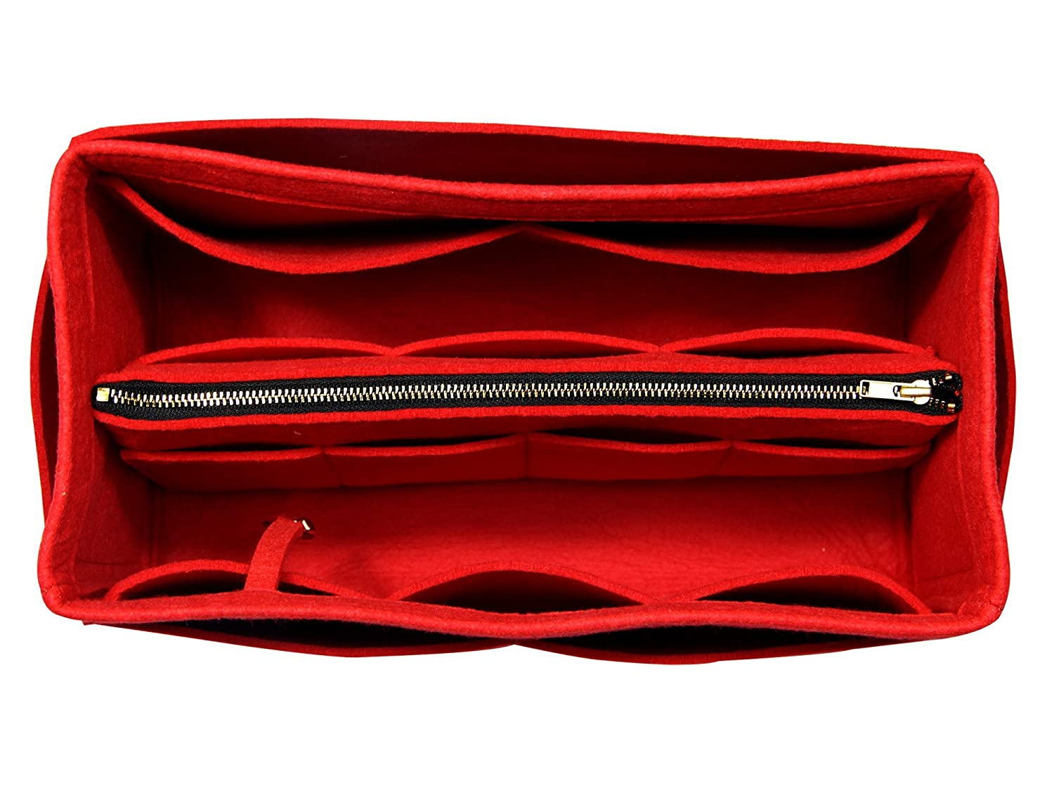 [Fits Neverfull MM/Speedy 30, Red] Purse Insert (3mm Felt, Detachable Pouch w/Metal Zip), Felt Tote Bag Organizer