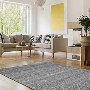 VIMODA viva6824 melliert pelo corto Alfombra, tejido ecológico certificado, autenticidad de colores, Cuidado fácil, gris, 200 x 290 cm