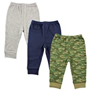 Luvable Friends Unisex 3 Pack Tapered Ankle Pants, Camo, 12-18 Months