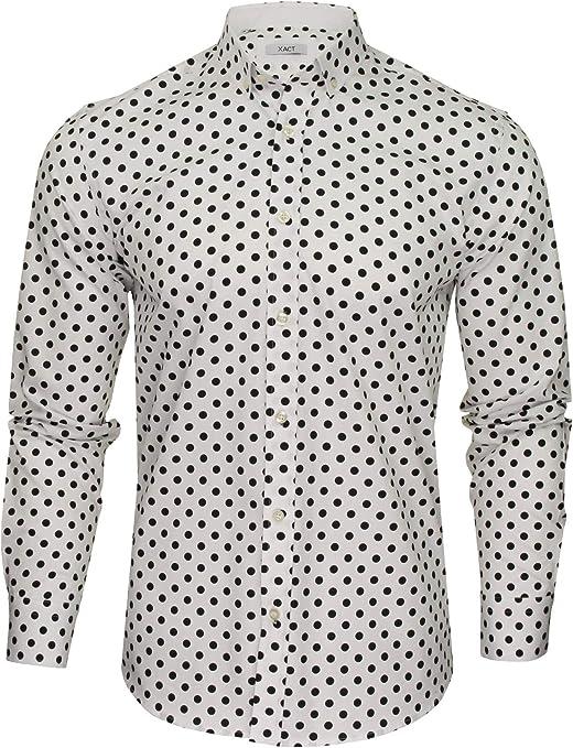 Xact - Camiseta de manga larga para hombre, diseño de lunares, estilo vintage: Amazon.es: Ropa y accesorios