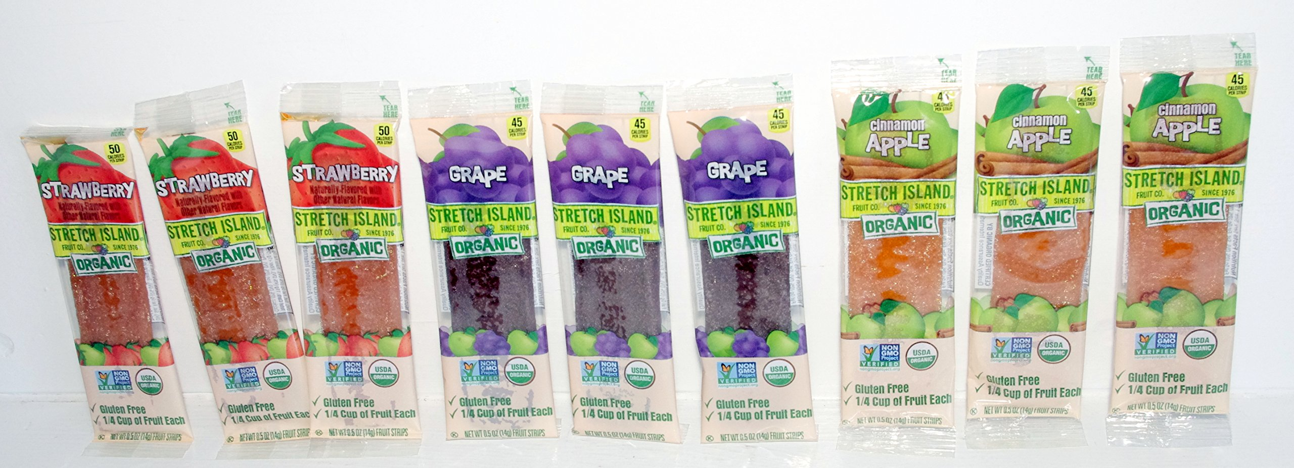 Organic All-natural Fruit Strips - 9 (.5 Oz.) Pkgs. Grape, Cinnamon Apple & Strawberry