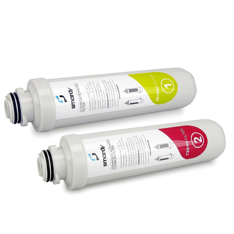 Filtro a carbone attivo e RO Membrana smardy 3in1 set filtro sostitutivo per impianto ad osmosi inversa R100 Sostituzione filtro ogni 12 mesi