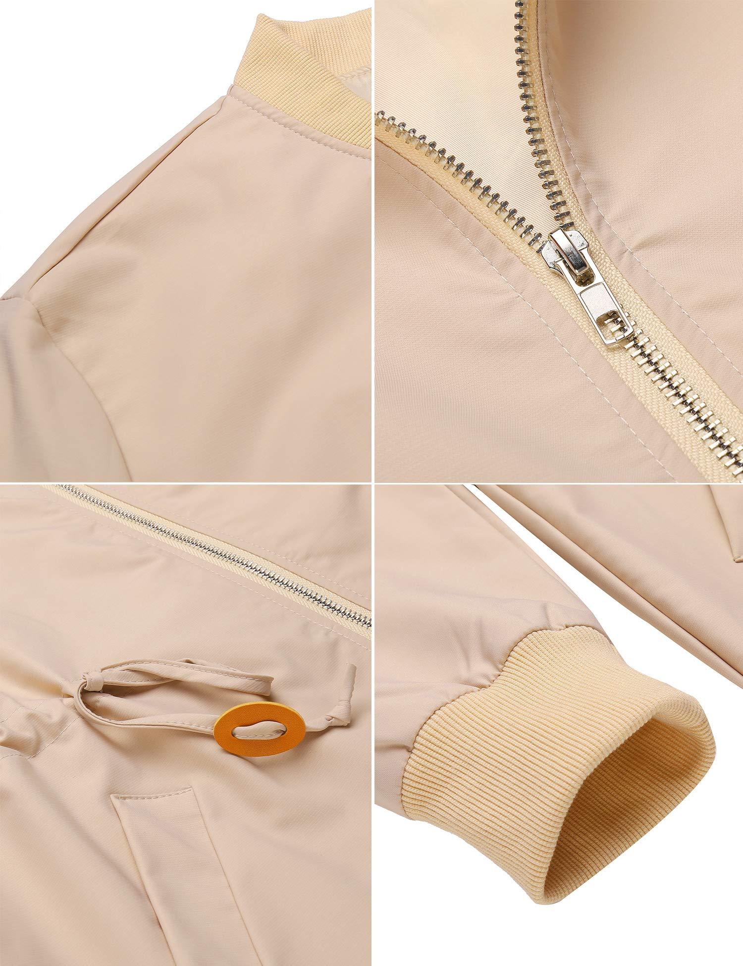 ELESOL Women\'s Military Anorak Utility Classic Safari Zipper Jacket with Pockets Khaki/S