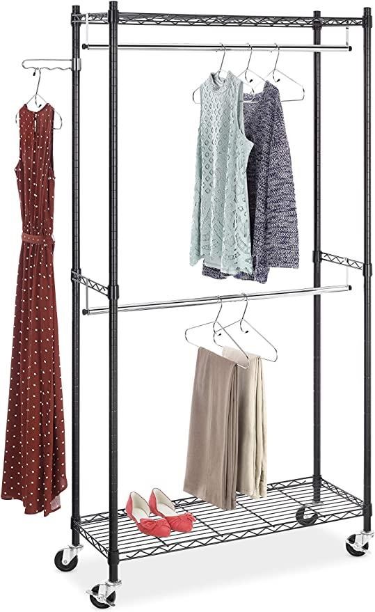 Double Rod Garment Clothing Rack on Wheels Clothes Racks for Hanging Clothes