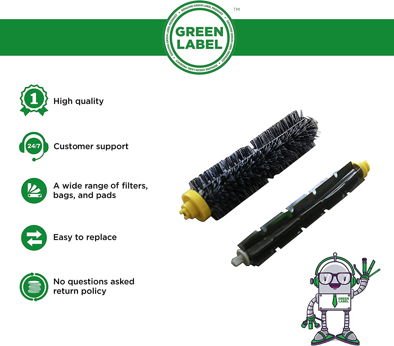 Green Label Replacement Bristle and Flexible Beater Brush Kit for iRobot Roomba 600 and 700 Series (EXCEPT 645 and 655 models)