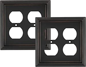 Pack of 2 Wall Plate Outlet Switch Covers by SleekLighting | Decorative oil rubbed bronze | Variety of Styles: Decorator/Duplex/Toggle / & Combo | Size: 2 Gang Duplex