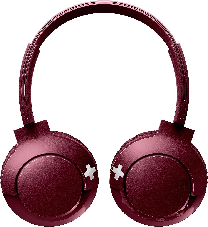 Philips SHB3075RD - Auriculares Inalambricos (con micrófono, aislantes de ruido, plegables, 12 h de reproducción) rojo