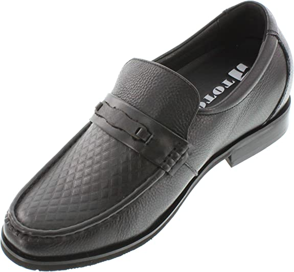 X40962-2.6 Inches Taller Height Increasing Elevator Shoes Black Leather Slip-on TOTO