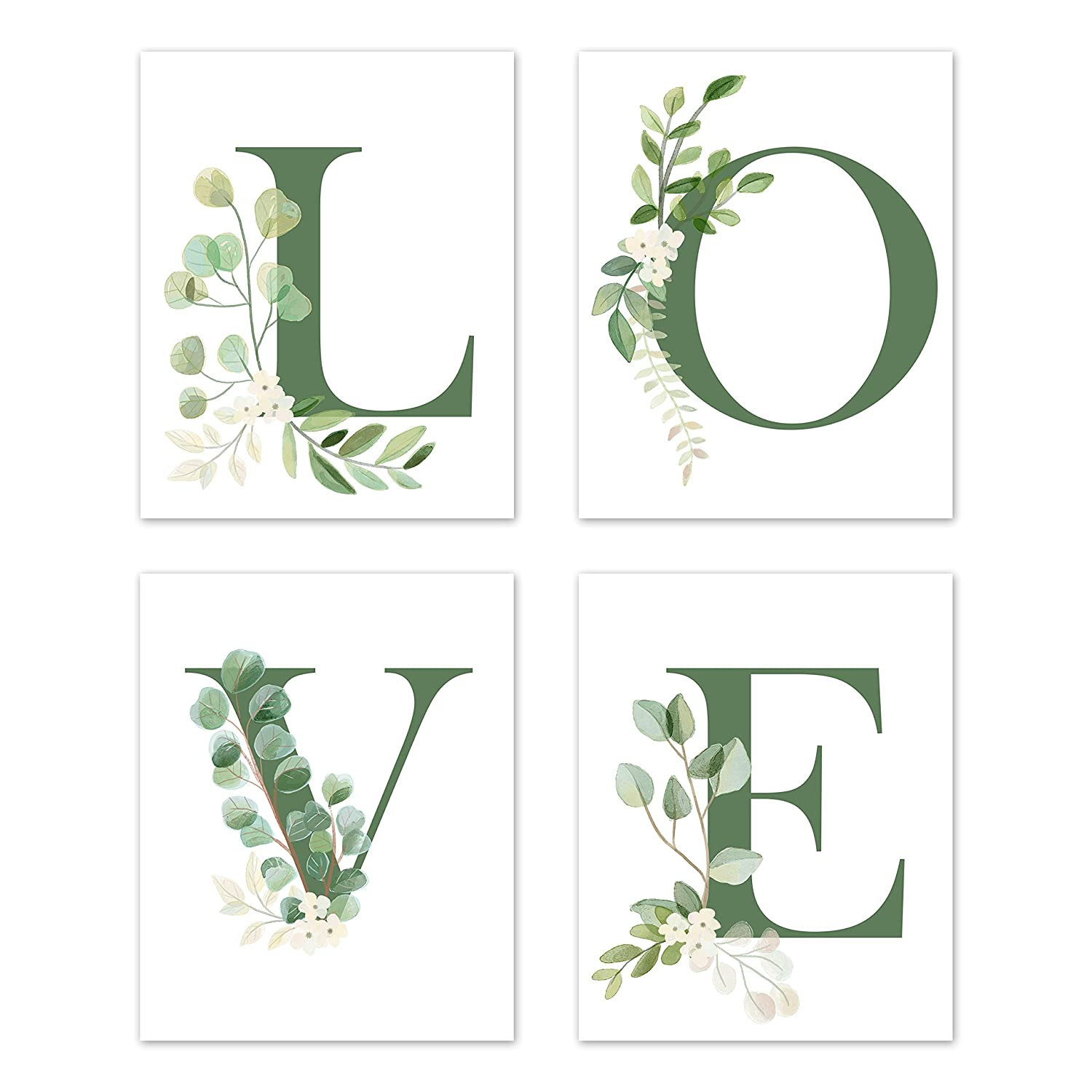 Sweet Jojo Designs Floral Leaf Wall Art Prints Room Decor for Baby, Nursery, and Kids - Set of 4 - Green and White Boho Watercolor Floral Leaf Botanical Woodland Tropical Garden