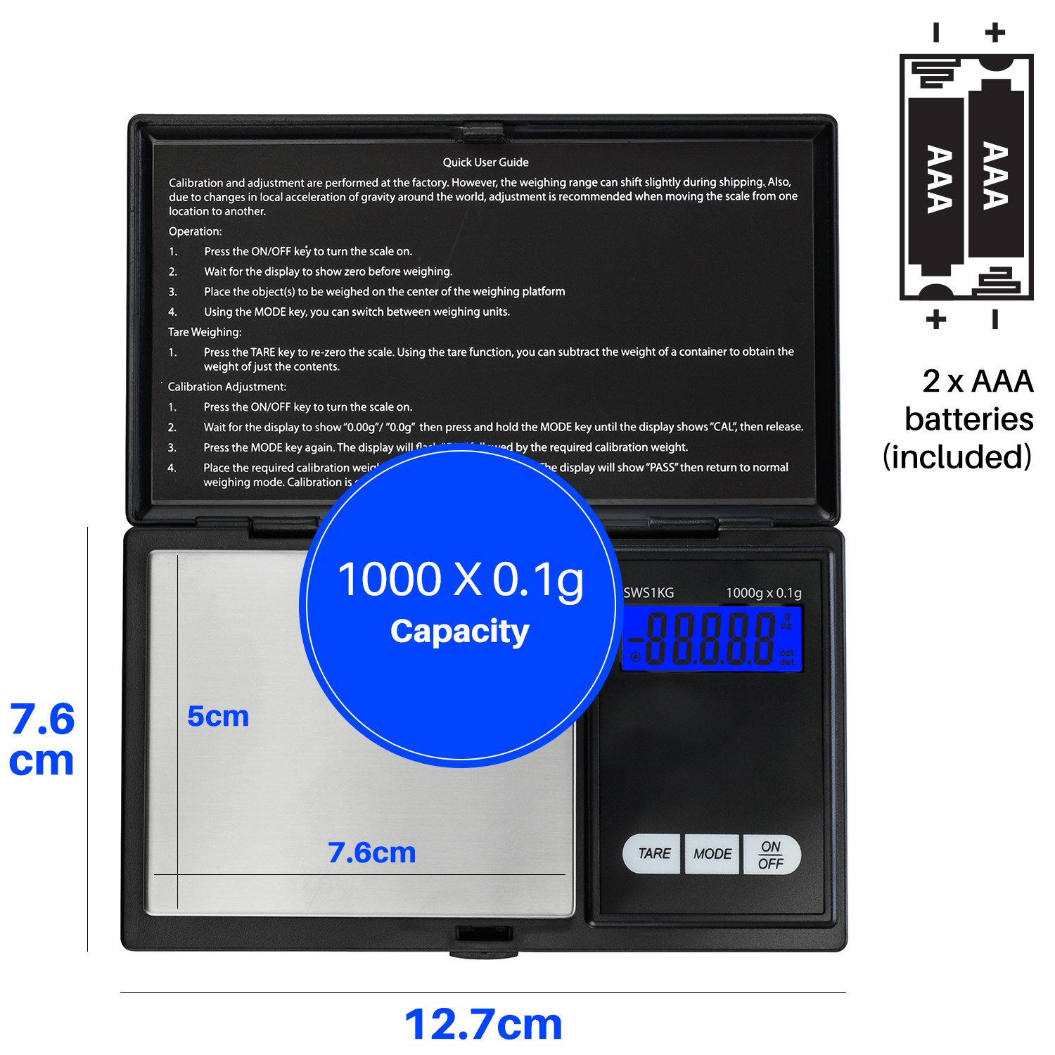 Smart Weigh SWS1KG Elite Series Digital Pocket Scale, 1000 by 0.1gm, Black by Smart Weigh (Image #7)