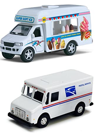 6627120dc6 Buy Ice Cream Truck and Mail Postal Service Truck Set of 2 - 1 46 Scale  (5-inches) with Pullback Action Online at Low Prices in India - Amazon.in