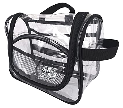 ebd32dd32969 Rough Enough Transparent Vinyl Zippered Luggage Toiletry Clear Makeup Bag  Brushes Carry Pouch Travel Wash Bag Cosmetic Case Kit Box with 2 Handles  and ...