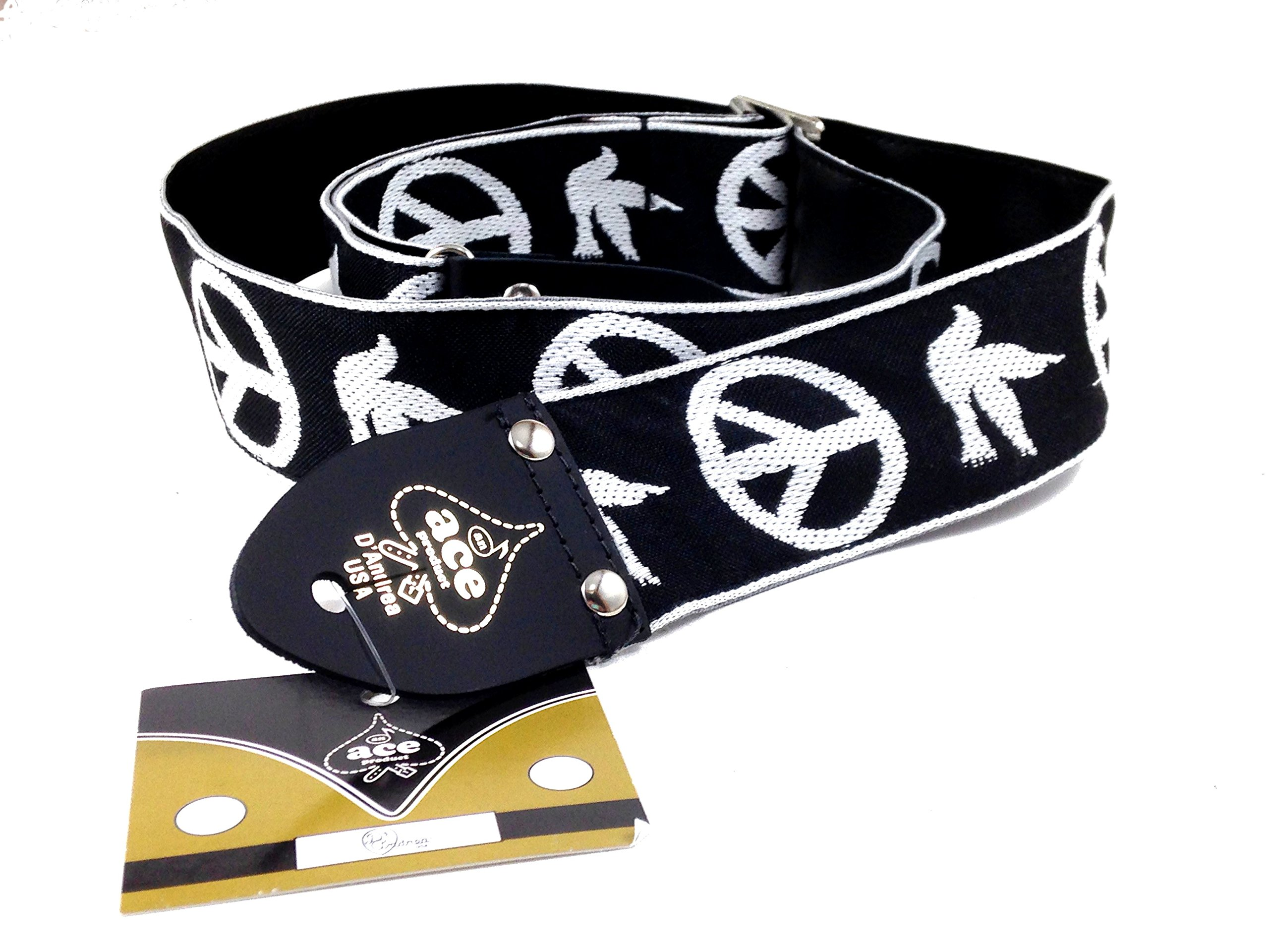 D'Andrea Ace Vintage Reissue Guitar Strap - Peace-Dove - Replica of Guitar Strap used by Neil Young by D'Andrea