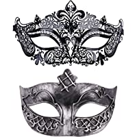 Thmyo 2 Pieces Masquerade Mask for Couples, Venetian Mardi Gras Costume Ball Mask