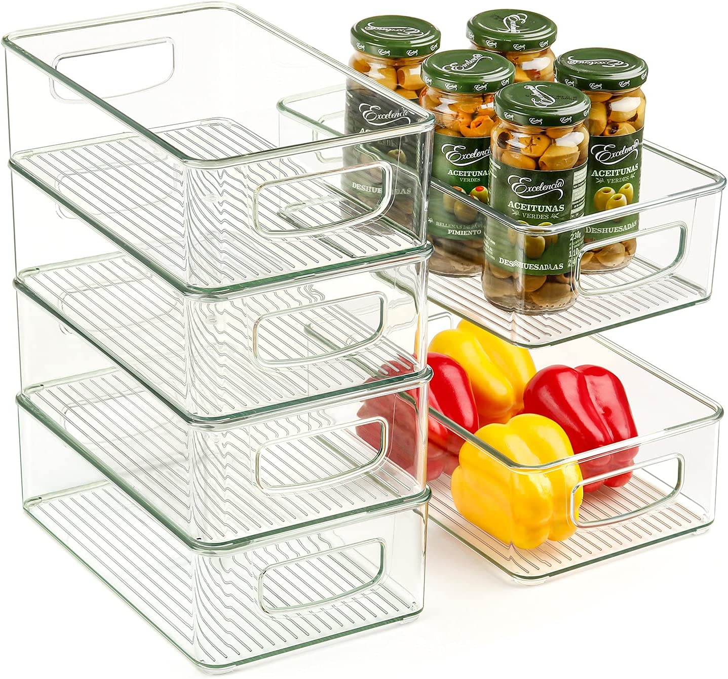 Set Of 6 Refrigerator Organizer Bins, Stackable Plastic Fridge Organizers with Handles for Freezer, Kitchen, Cabinet, Pantry Food Storage Rack, BPA Free, 10.2×6.2×3.2 inch