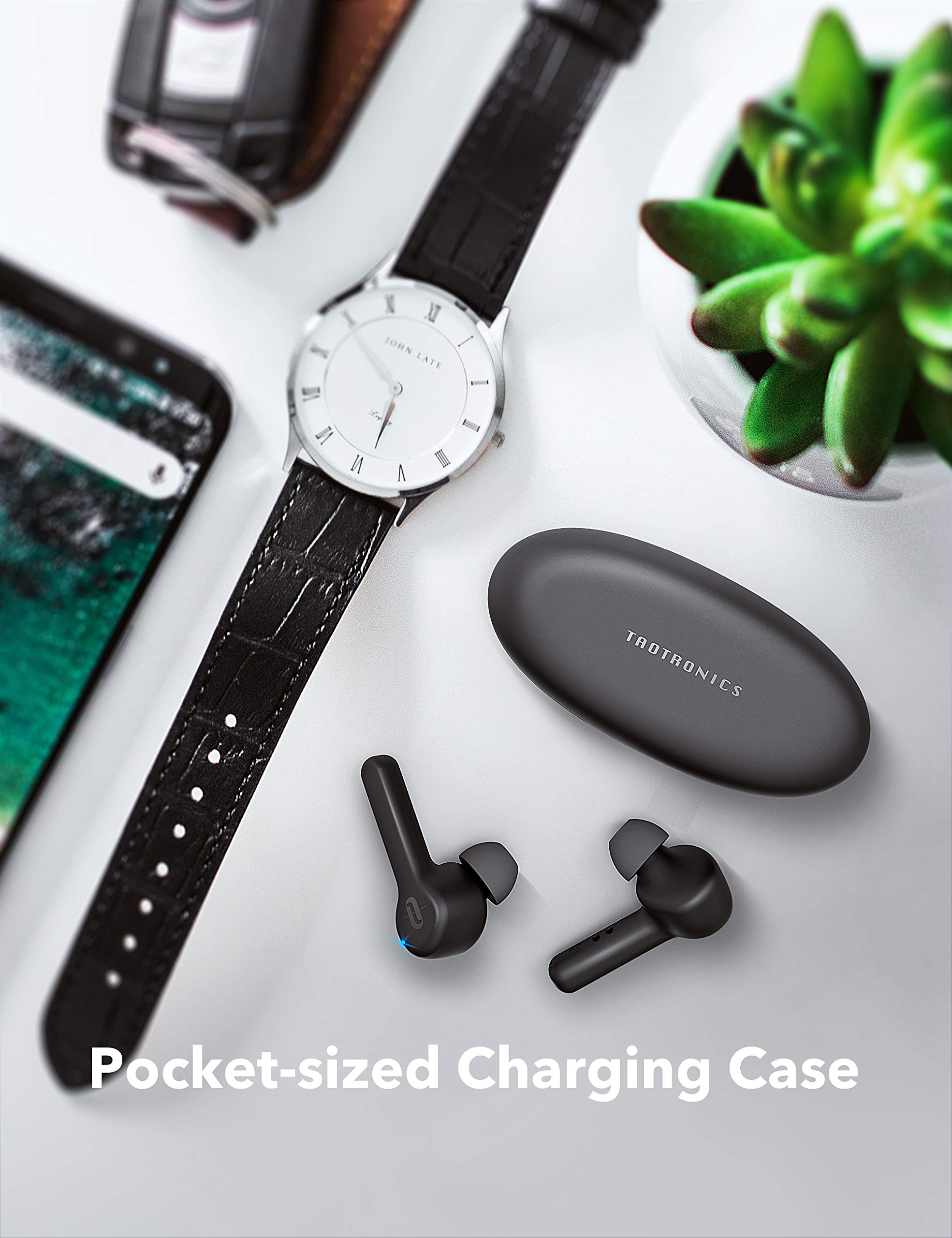 Wireless Earbuds, TaoTronics Bluetooth 5.0 Headphones SoundLiberty 53 in-Ear Earphones IPX7 Waterproof Smart Touch Control Bluetooth Earbuds Single/Twin Mode with Built-in Mic 40 H Playtime TT-BH053 by TaoTronics (Image #7)