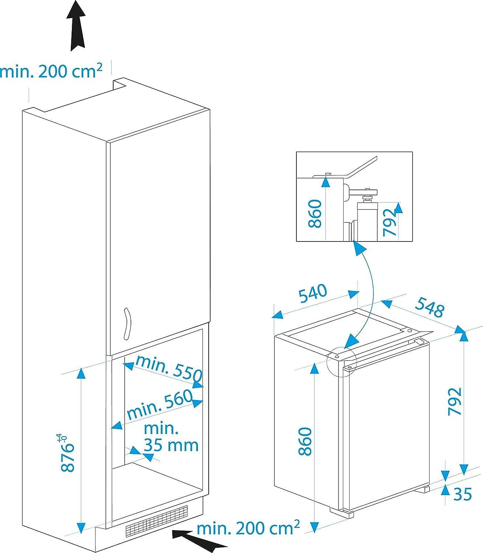 Lovely kuhlschrank integrierbar unterbaufhig pics for Einbaukühlschrank dekorf hig