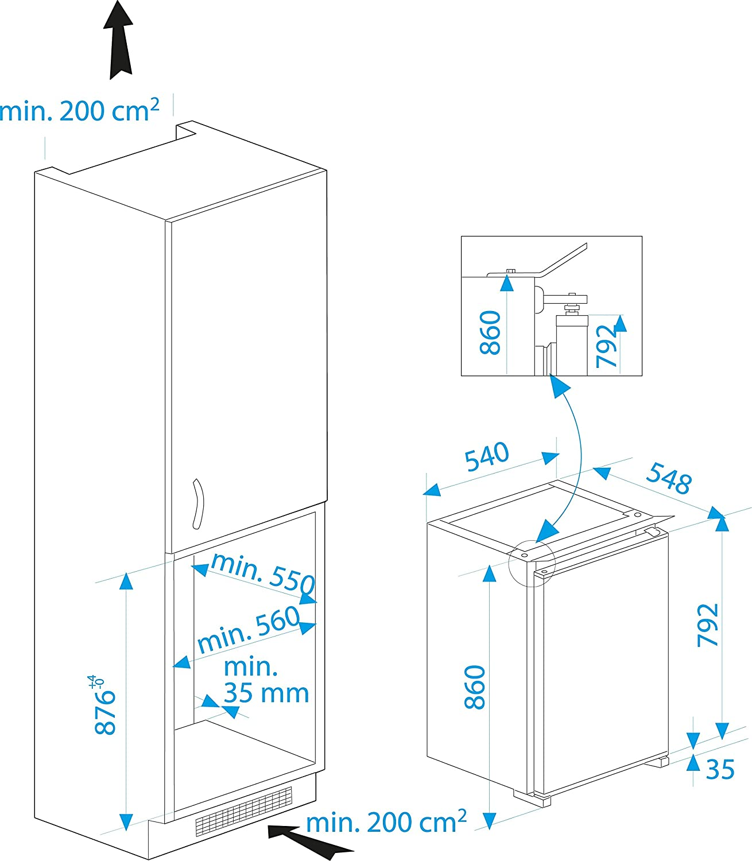 Lovely kuhlschrank integrierbar unterbaufhig pics for Kühlschrank integrierbar unterbauf hig