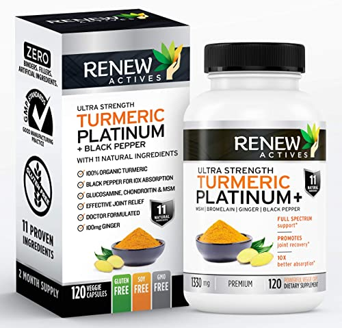 Renew Actives Turmeric Curcumin Supplement Potent Turmeric Platinum Supplement with 95 Curcuminoids, Ginger Bioperine Black Pepper – Inflammation Joint Pain Relief – 120 Capsules