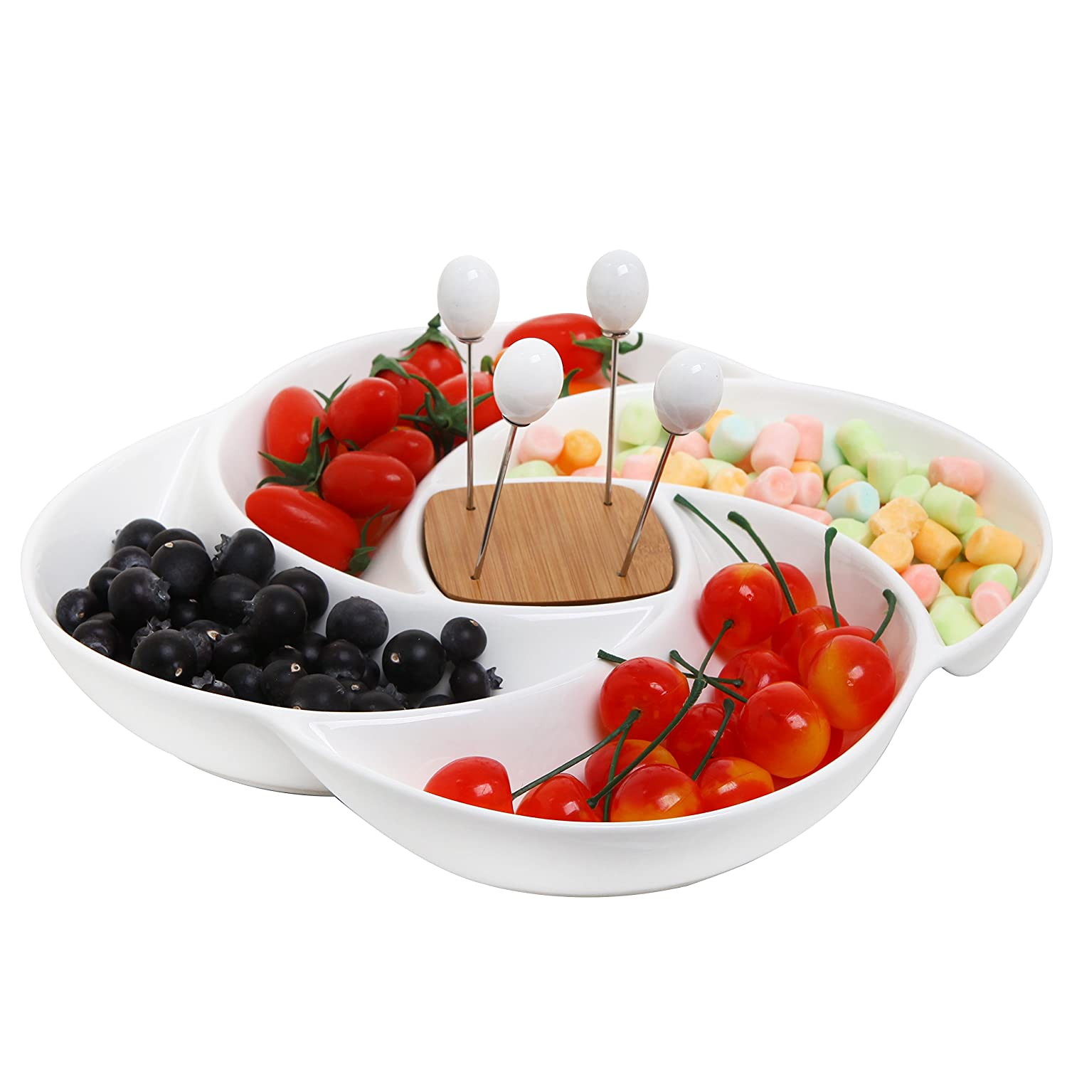 Decorative White Ceramic Appetizer Serving Platter Tray With Food Picks And Wood Holder by My Gift