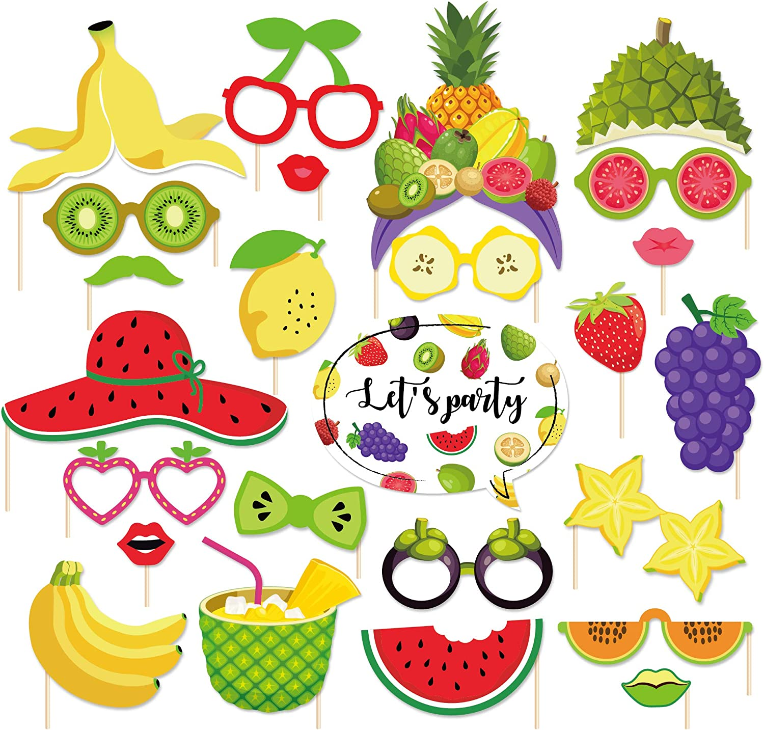 CC HOME 25Ct Two-tti Frutti Photo Booth Props,Fruit Party Decorations,Party Favor for Summer Fruit Party Supplies