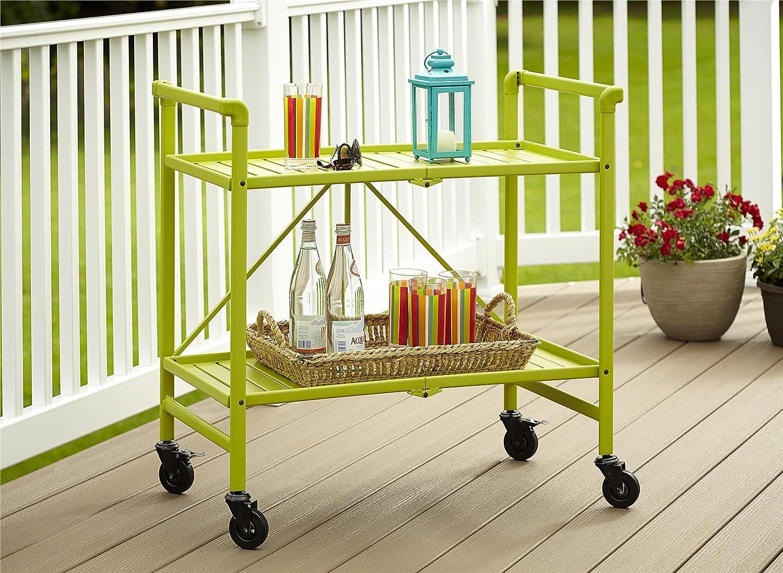 amazoncom indoor or outdoor folding metal rolling serving cart bright green bar u0026 serving carts