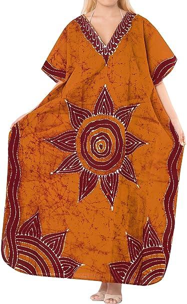 0377eb0139 Women's Cotton plus Cover up Lounge Sleep Night wear Caftan Long Dress  Orange: Amazon.ca: Clothing & Accessories