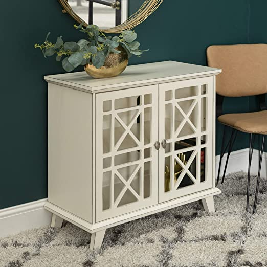 Walker Edison Wood Accent Buffet Sideboard Serving Storage Cabinet with  Doors Entryway Kitchen Dining Console Living Room, 32 Inch, Antique White