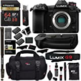 "Panasonic Lumix G9 Mirrorless Camera Body 20.3 MP G9KBODY, Panasonic G9 Vertical Battery Grip, Polaroid 64GB High Speed SD Card U3, Polaroid 72"" Monopod, Spare Battery and Accessory Bundle"