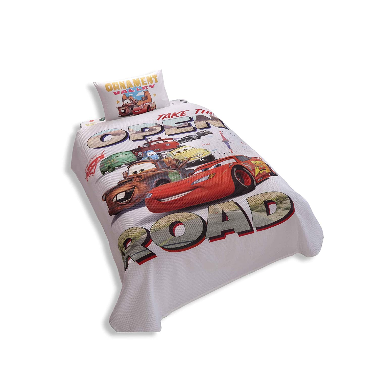 Disney Cars Single/Twin 100% Cotton Bedding Bedspread/Coverlet Set 3 Pcs