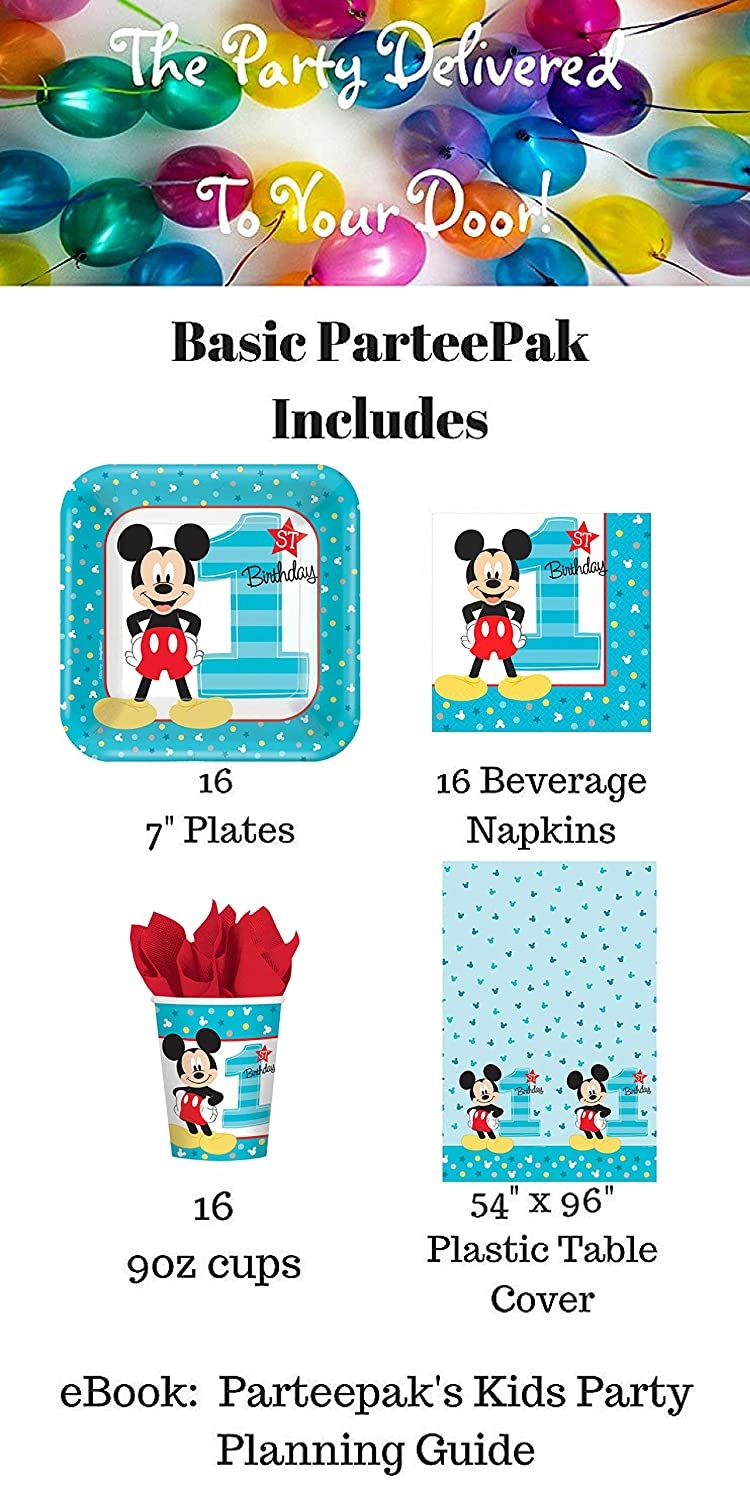 Napkins ParteePak Mickeys First Birthday Party Bundle 50 Pieces Includes Disposable Plates Table Cover and Party Planning eBook 1st Birthday Party Supplies Pack for 16 Guests Cups Basic