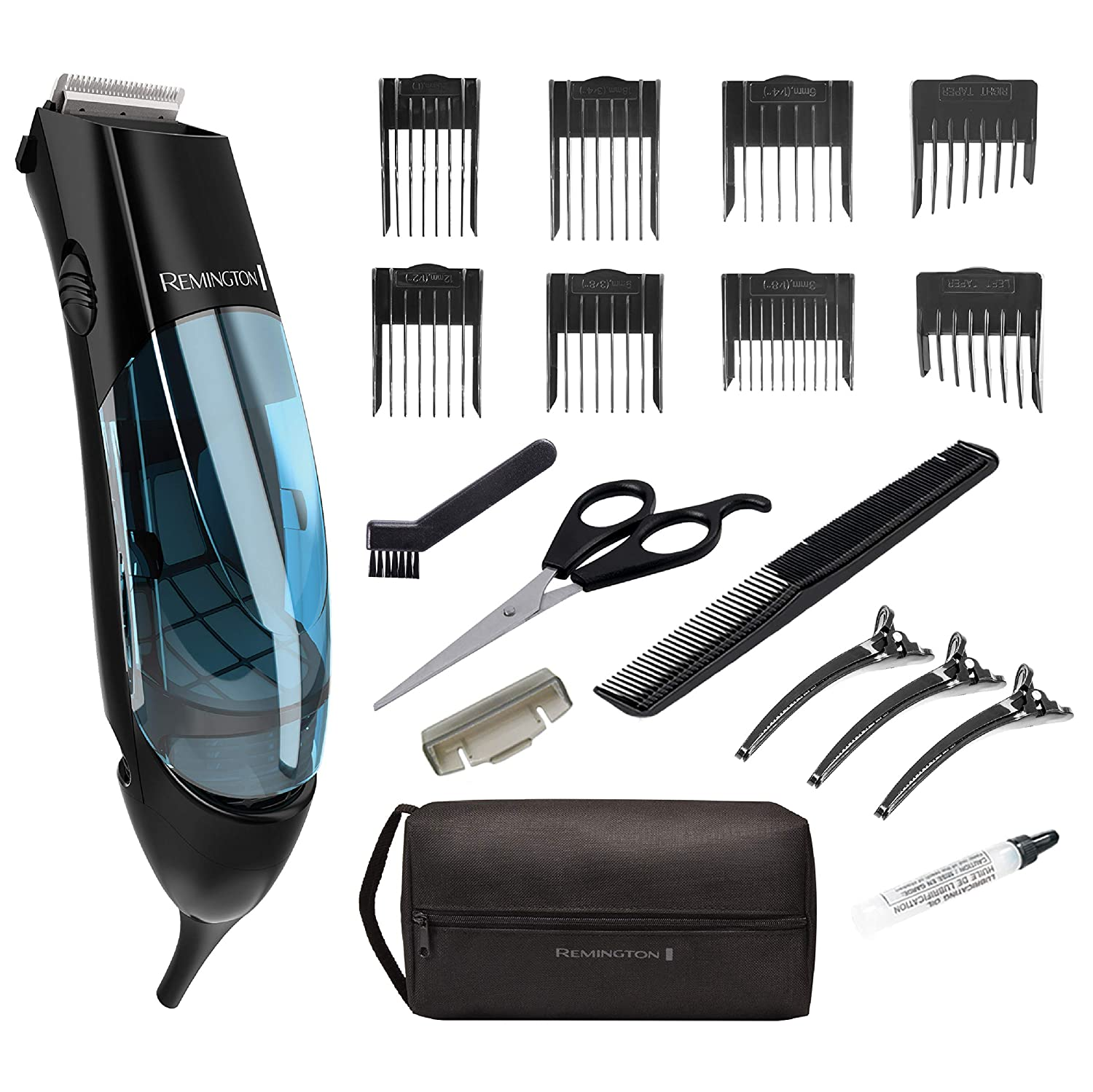 Remington HKVAC2000A Vacuum Haircut Kit, Vacuum Beard Trimmer, Hair Clippers for Men 18 pieces