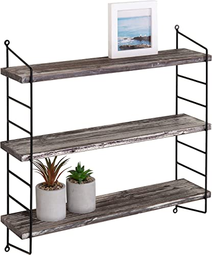 MyGift Wall-Mounted 3-Tier Torched Wood Metal Adjustable Shelf