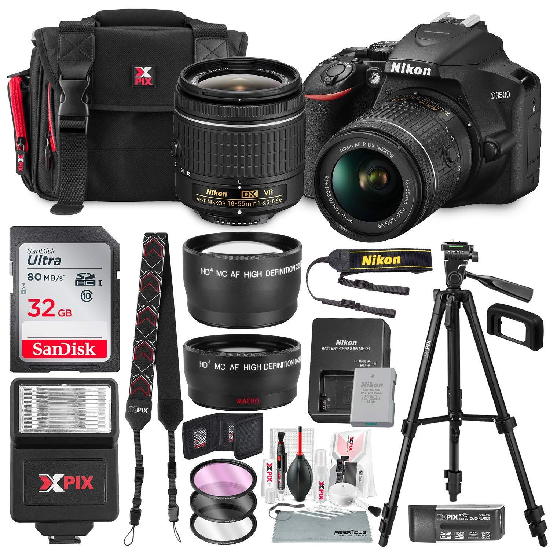 Nikon D3500 DSLR Camera with AF-P DX NIKKOR 18-55mm f/3.5-5.6G VR Lens + 32GB Card, Flash, Tripod, and Bundle