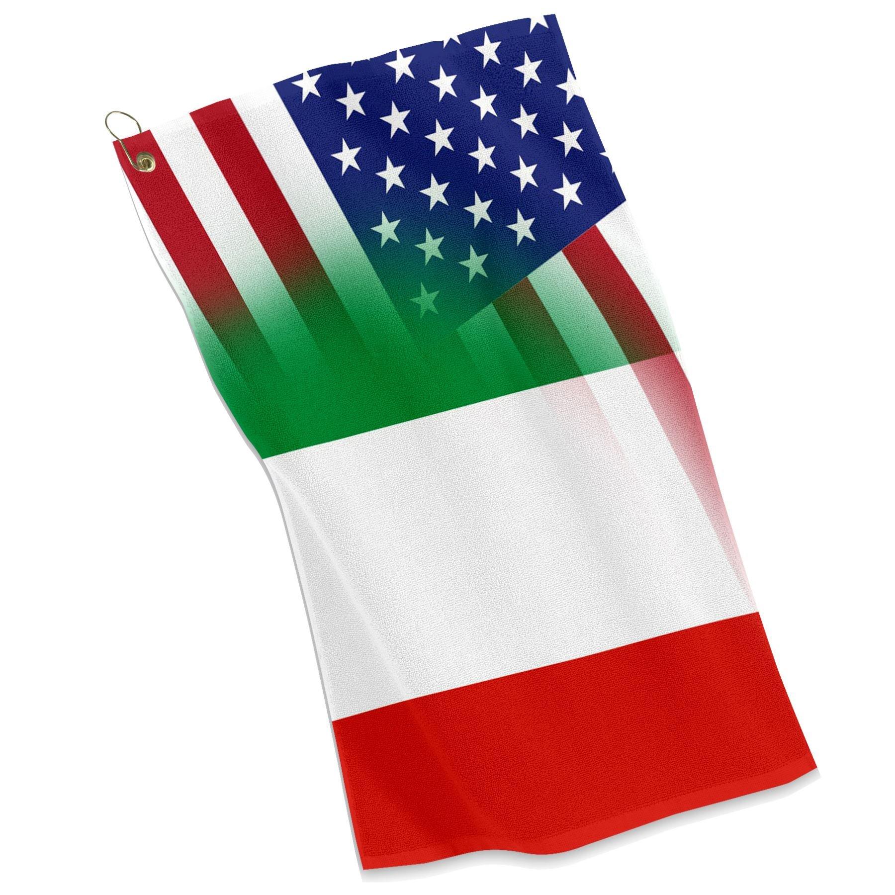 Golf / Sports Towel - Flag of Italy & USA - Italian, Italia