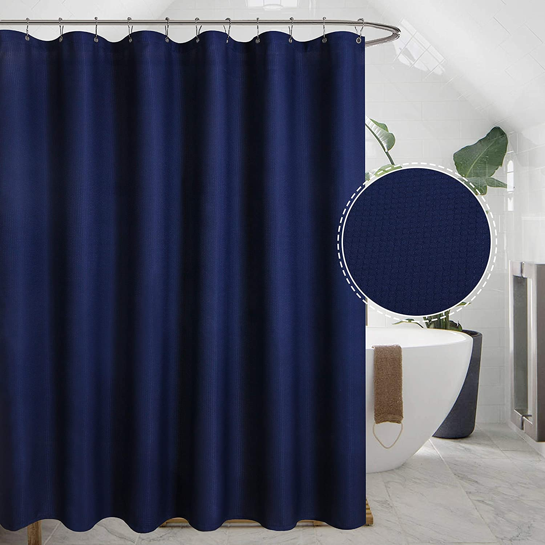 YUUNITY Avershine Solid Navy Blue Shower Curtain Fabric Weighted Hem Shower Lin