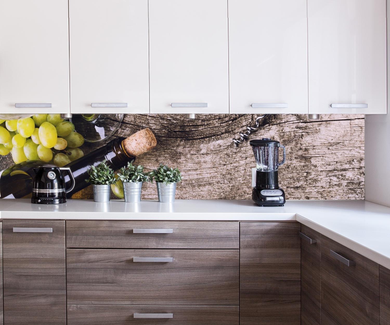 wandmotiv24 Cocina pared trasera Botella de vino blanco y uvas en una mesa antigua Design M0838 260 x 60 cm (W x H) - 3 mm de aluminio Pared trasera cocina ...