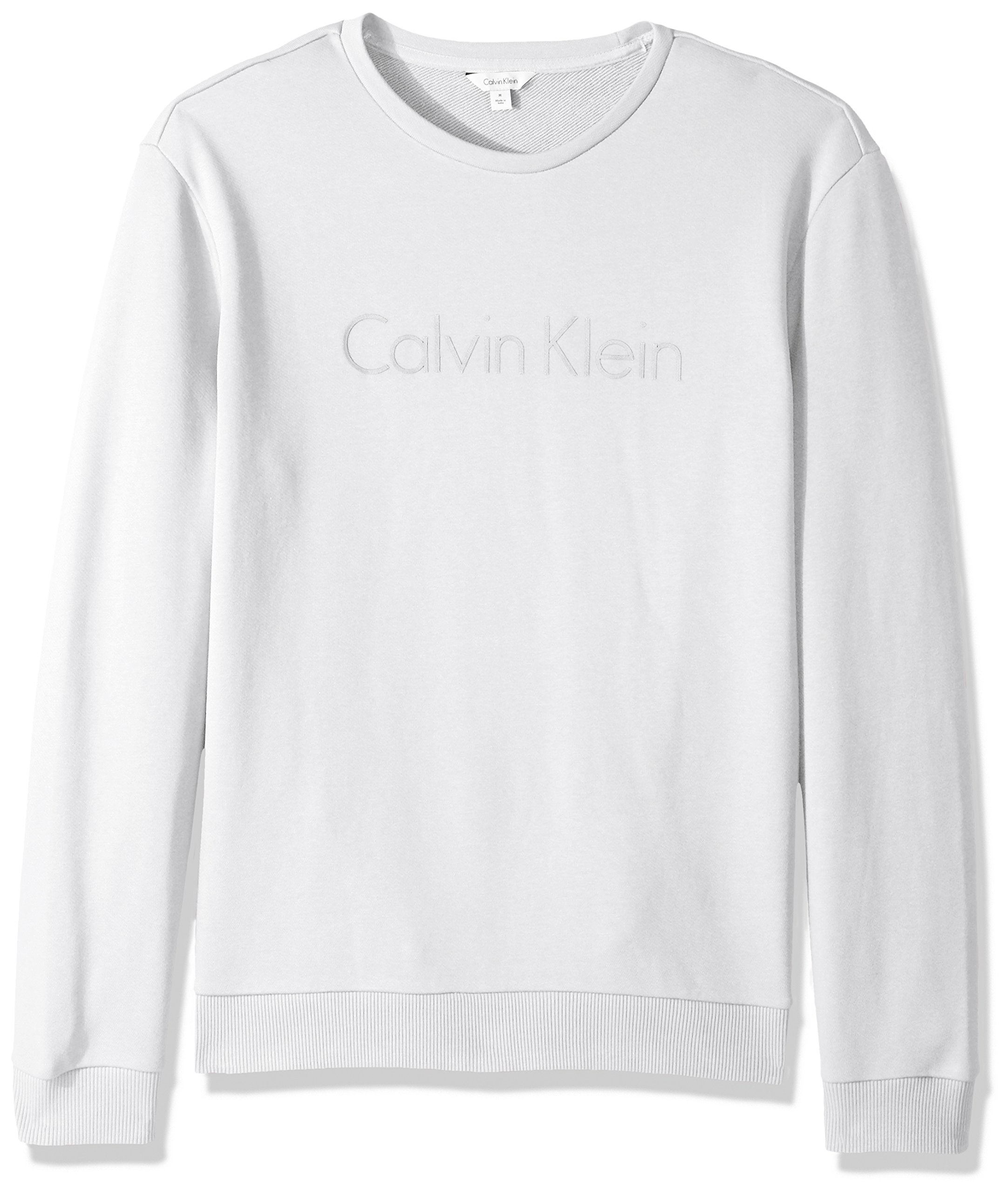 Calvin Klein Men's Logo Crew Neck Sweatshirt, Smoke White, Large