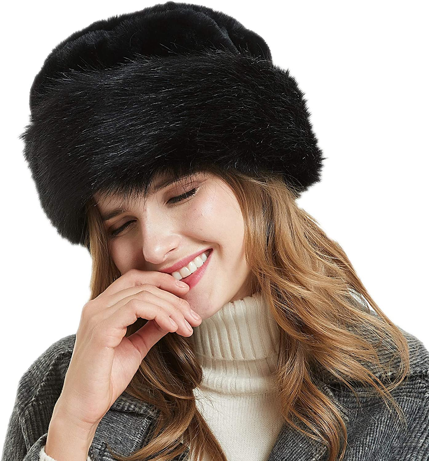 Soul Young Women's Leopard Faux Fur Hat with Fleece and Elastic for Winter