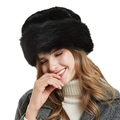 5456d3ca Soul Young Women's Leopard Faux Fur Hat with Fleece and Elastic for Winter (Black)