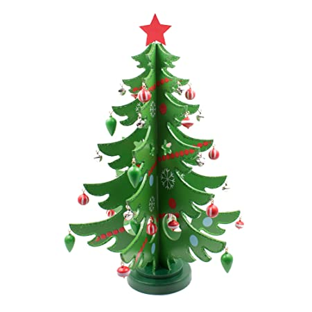 Mini Tabletop Wooden Christmas Tree with Decorations, 14 Inches Green