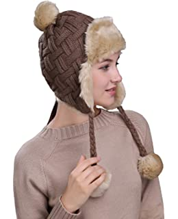 9c97e768 Home Prefer Womens Girls Earflap Hat Faux Fur Knit Hat Warm Snow Ski  Trapper Hat