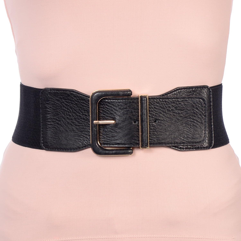 X-CESSOIRE Womens Black Wide Elastic Belt with Prong Closure